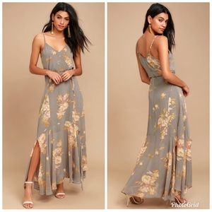 Feeling Freesia Grey Floral Print Maxi Dress